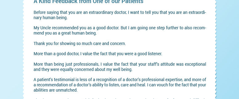 A KIND FEEDBACK FROM ONE OF OUR PATIENTS